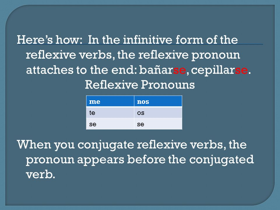 Here's how: In the infinitive form of the reflexive verbs, the reflexive pronoun attaches to the end: bañarse, cepillarse. Reflexive Pronouns When you conjugate reflexive verbs, the pronoun appears before the conjugated verb.