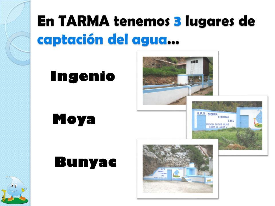 En TARMA tenemos 3 lugares de captación del agua…