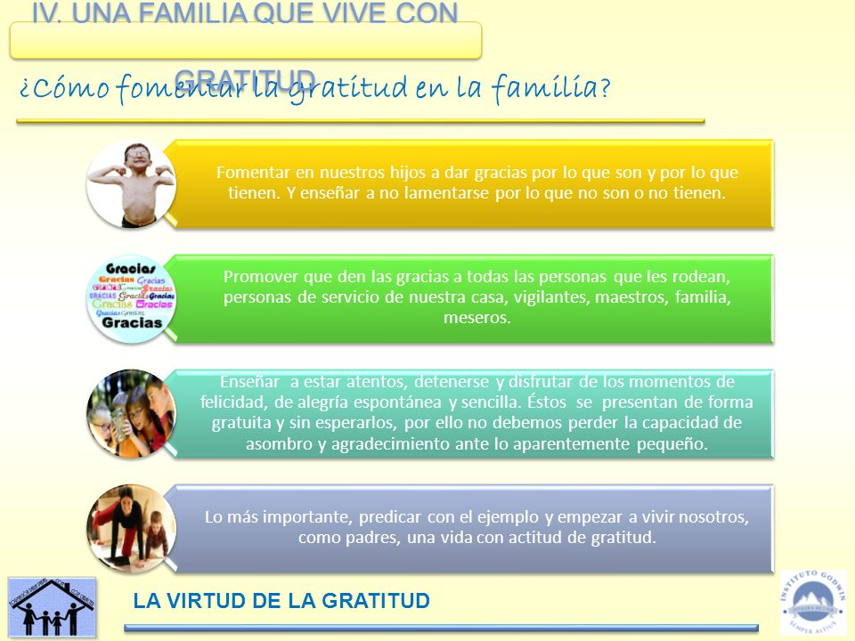 IV. UNA FAMILIA QUE VIVE CON GRATITUD