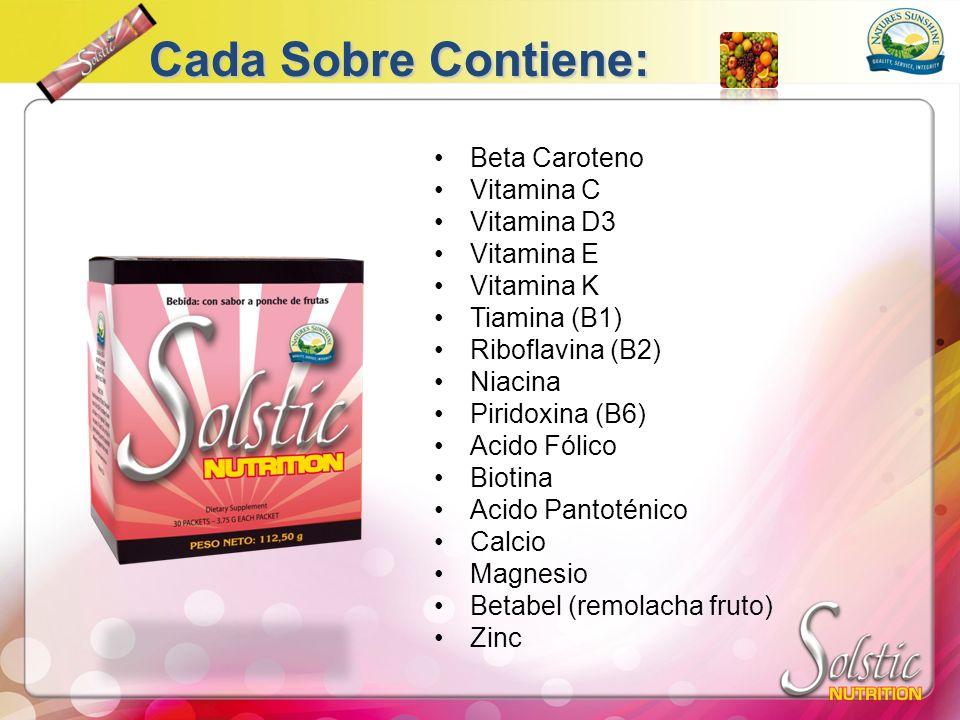 Cada Sobre Contiene: Beta Caroteno Vitamina C Vitamina D3 Vitamina E