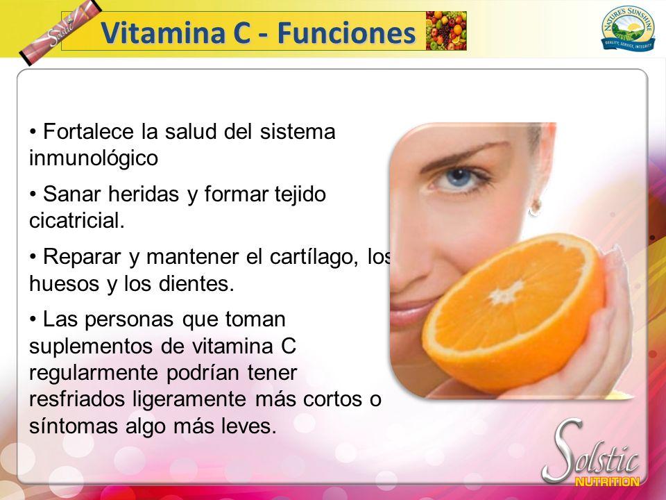 Vitamina C - Funciones Fortalece la salud del sistema inmunológico