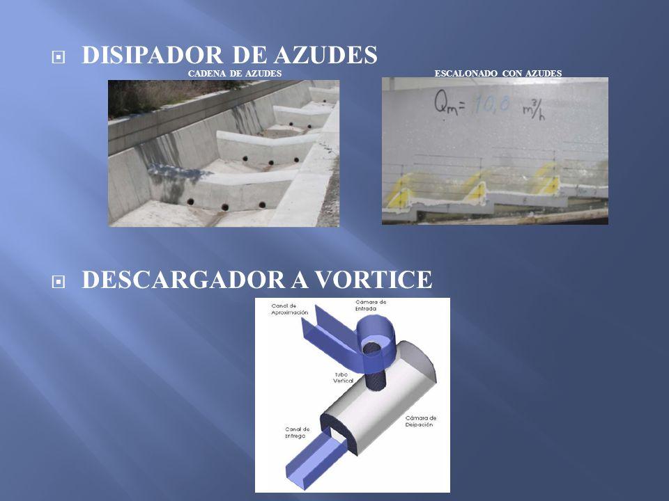 DISIPADOR DE AZUDES DESCARGADOR A VORTICE CADENA DE AZUDES