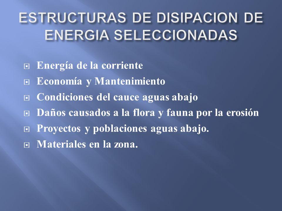 ESTRUCTURAS DE DISIPACION DE ENERGIA SELECCIONADAS
