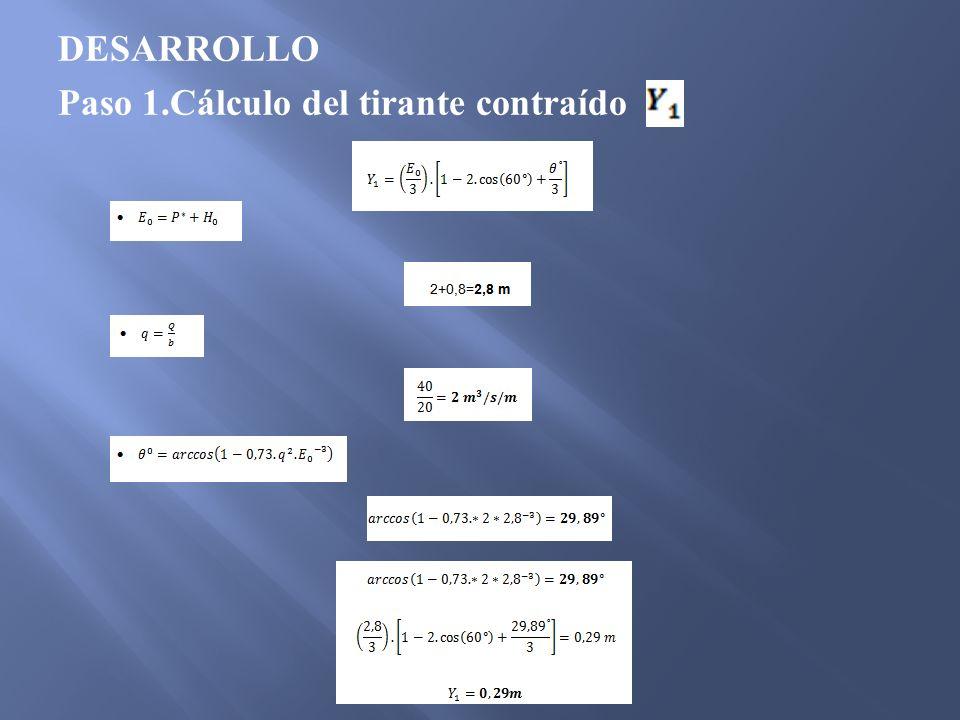 DESARROLLO Paso 1.Cálculo del tirante contraído