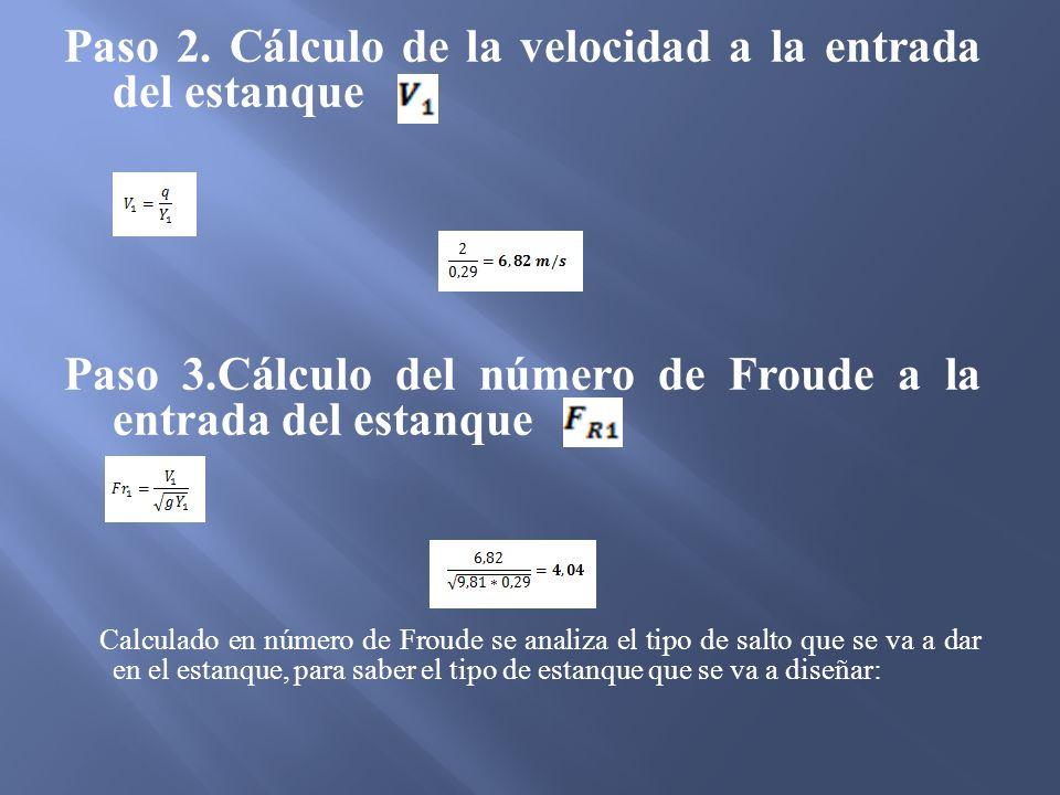 Paso 2. Cálculo de la velocidad a la entrada del estanque
