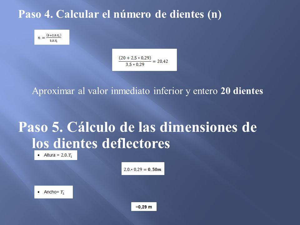 Paso 5. Cálculo de las dimensiones de los dientes deflectores