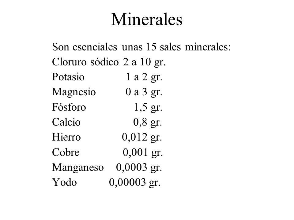 Minerales Son esenciales unas 15 sales minerales: