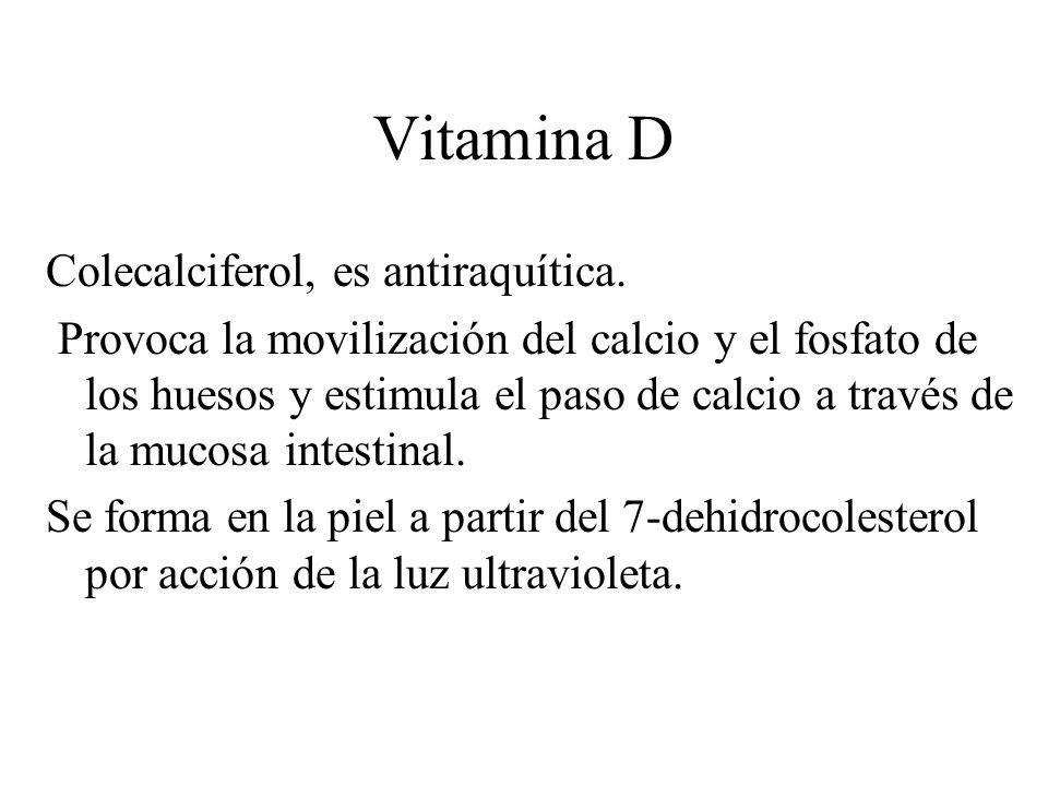 Vitamina D Colecalciferol, es antiraquítica.