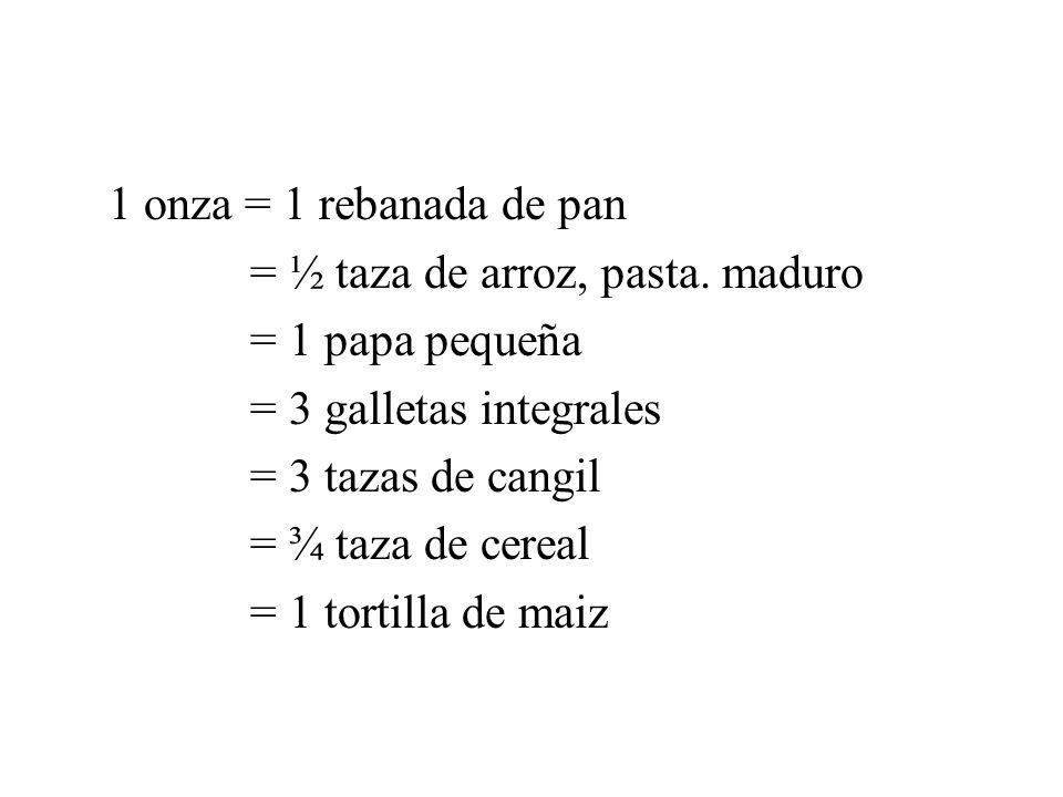 1 onza = 1 rebanada de pan = ½ taza de arroz, pasta. maduro. = 1 papa pequeña. = 3 galletas integrales.