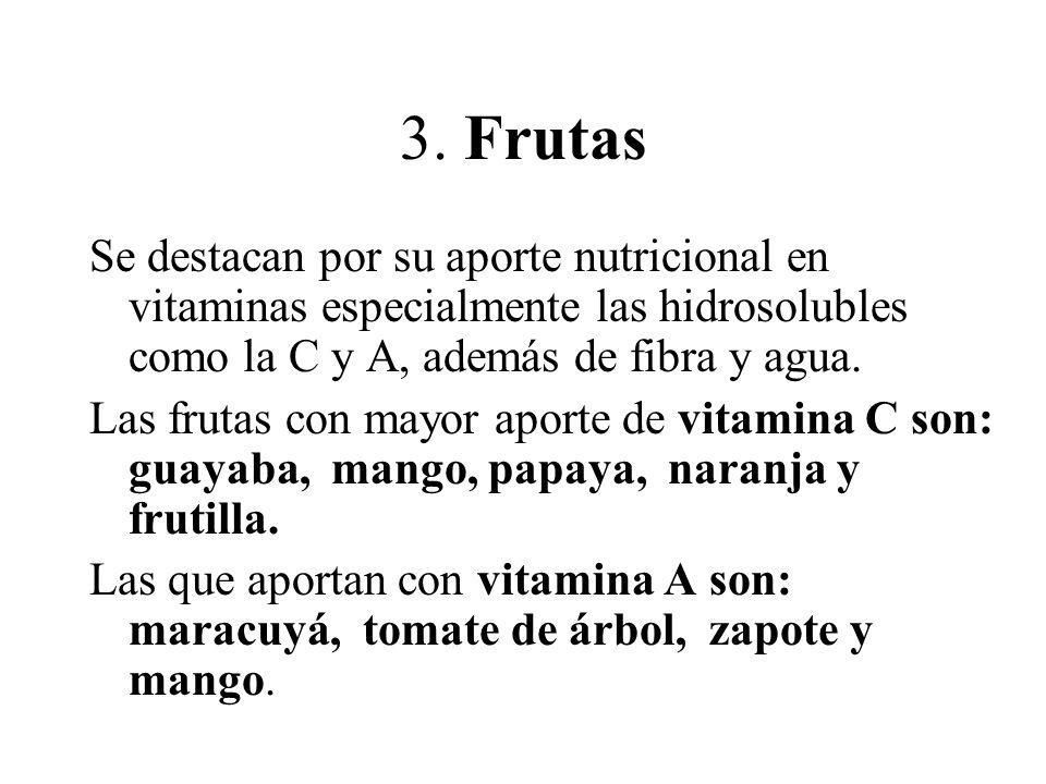 3. Frutas Se destacan por su aporte nutricional en vitaminas especialmente las hidrosolubles como la C y A, además de fibra y agua.
