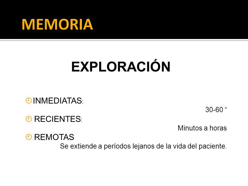 MEMORIA EXPLORACIÓN INMEDIATAS:  RECIENTES:  REMOTAS 30-60