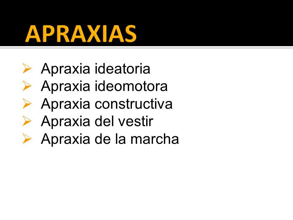 APRAXIAS Apraxia ideatoria Apraxia ideomotora Apraxia constructiva