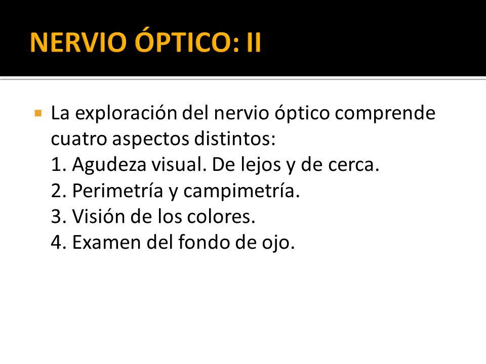 NERVIO ÓPTICO: II La exploración del nervio óptico comprende cuatro aspectos distintos: 1. Agudeza visual. De lejos y de cerca.