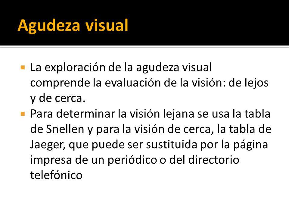 Agudeza visual La exploración de la agudeza visual comprende la evaluación de la visión: de lejos y de cerca.