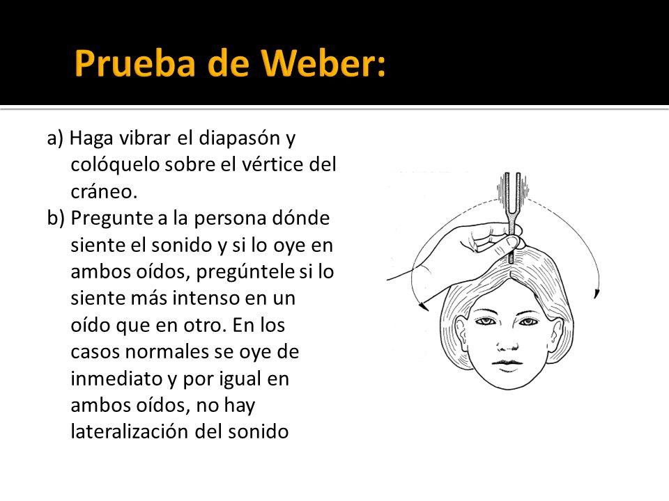 Prueba de Weber: a) Haga vibrar el diapasón y colóquelo sobre el vértice del cráneo.