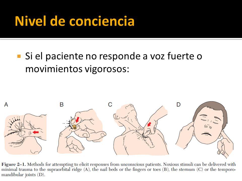 Nivel de conciencia Si el paciente no responde a voz fuerte o movimientos vigorosos: