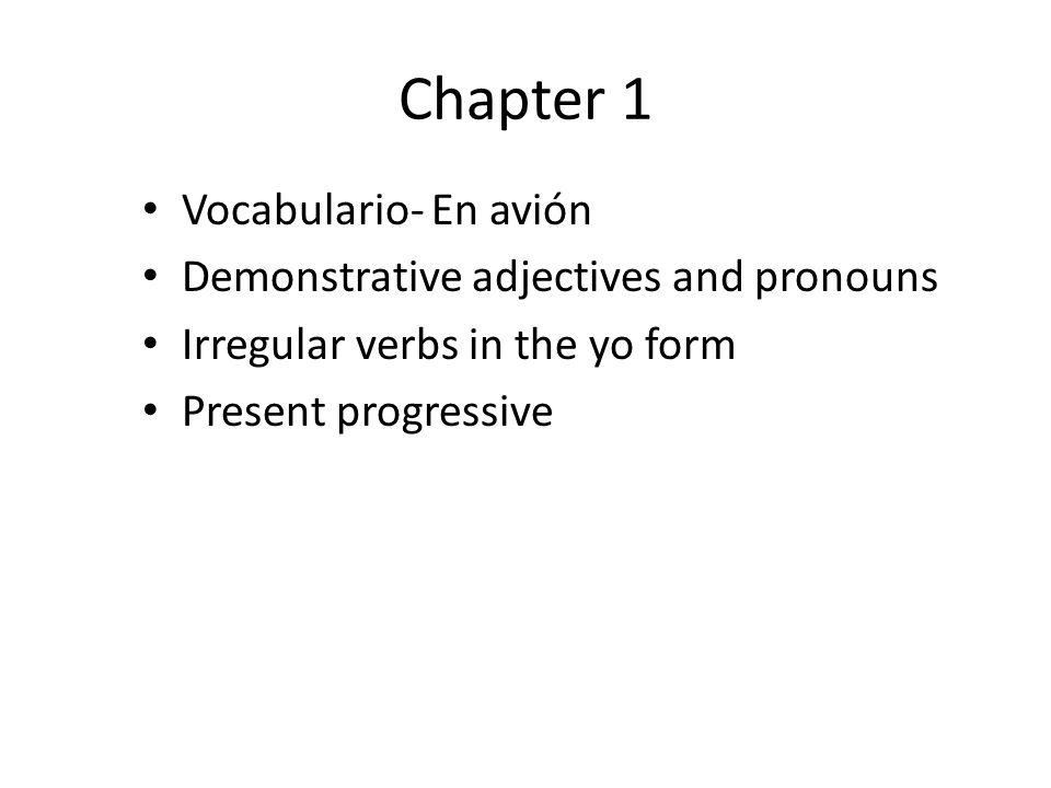 Chapter 1 Vocabulario- En avión Demonstrative adjectives and pronouns