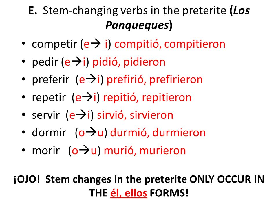E. Stem-changing verbs in the preterite (Los Panqueques)
