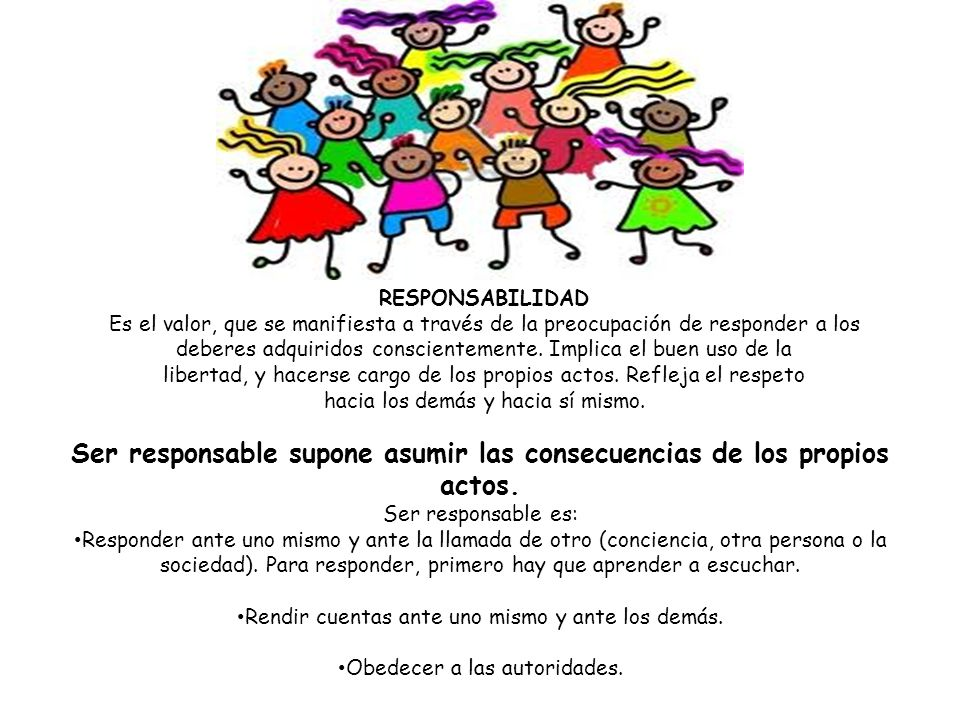 Ser responsable supone asumir las consecuencias de los propios actos.