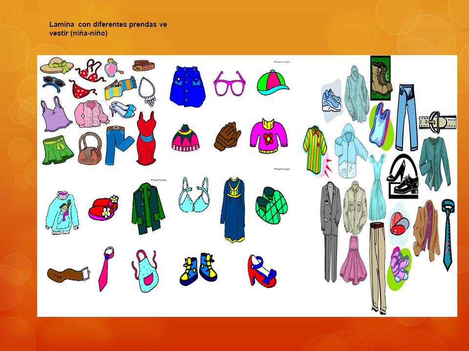 Lamina con diferentes prendas ve vestir (niña-niño)
