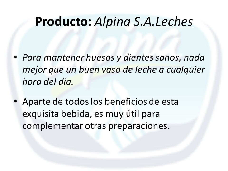 Producto: Alpina S.A.Leches