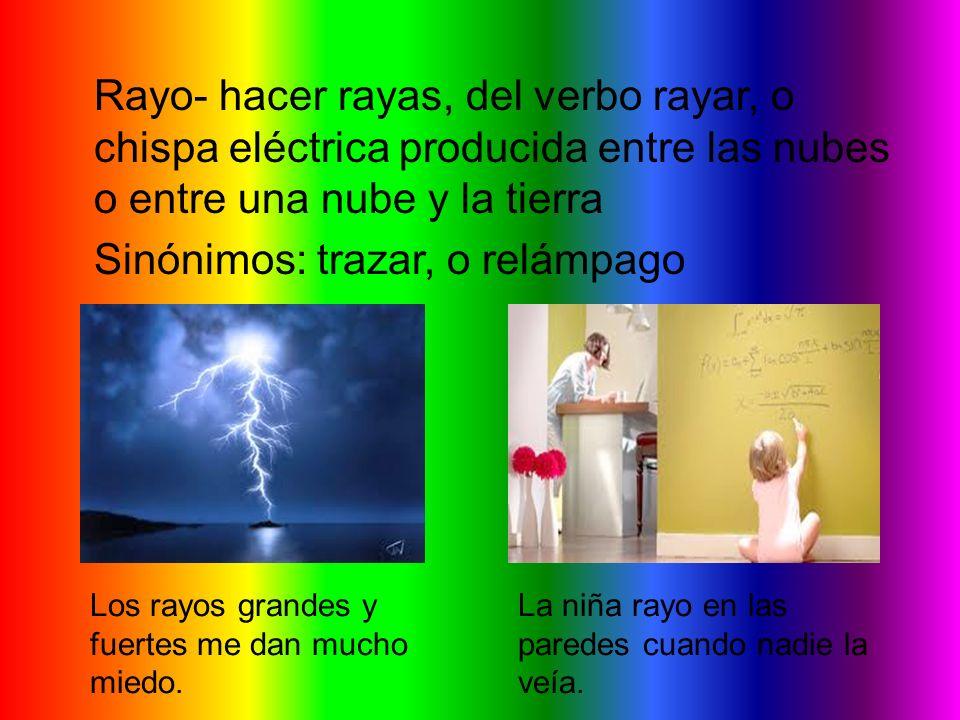 Rayo- hacer rayas, del verbo rayar, o chispa eléctrica producida entre las nubes o entre una nube y la tierra Sinónimos: trazar, o relámpago