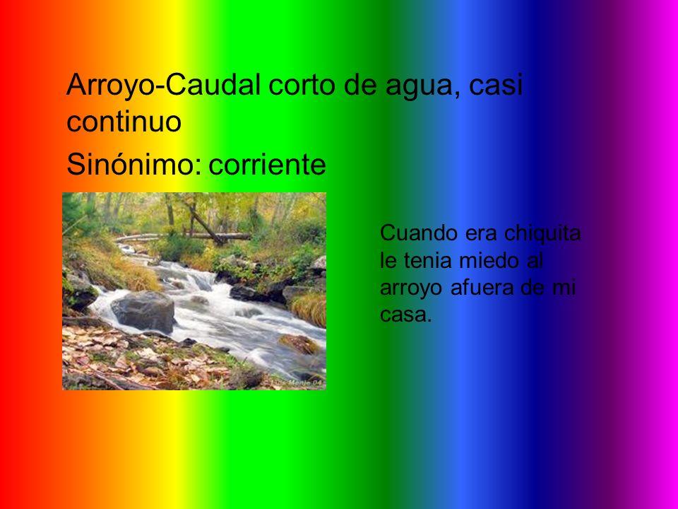 Arroyo-Caudal corto de agua, casi continuo Sinónimo: corriente