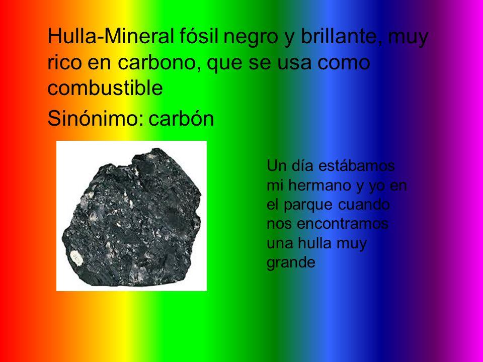 Hulla-Mineral fósil negro y brillante, muy rico en carbono, que se usa como combustible Sinónimo: carbón