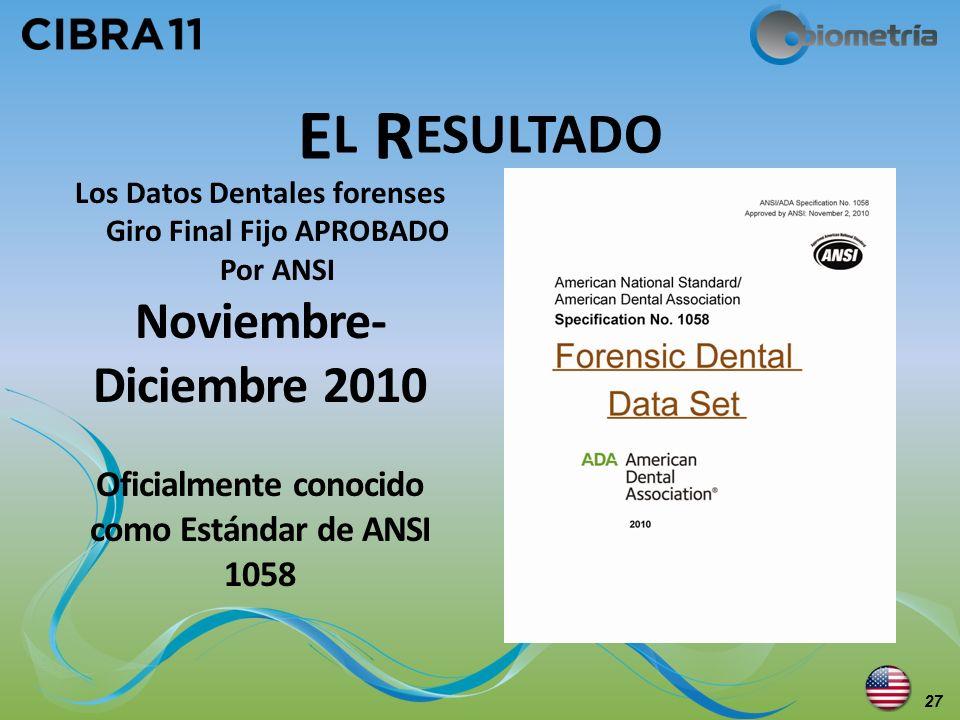 El Resultado Noviembre-Diciembre 2010 Oficialmente conocido