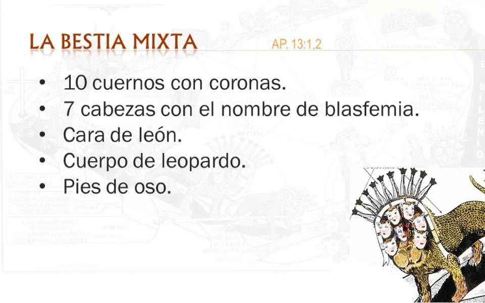 LA BESTIA MIXTA AP. 13:1,2 10 cuernos con coronas.