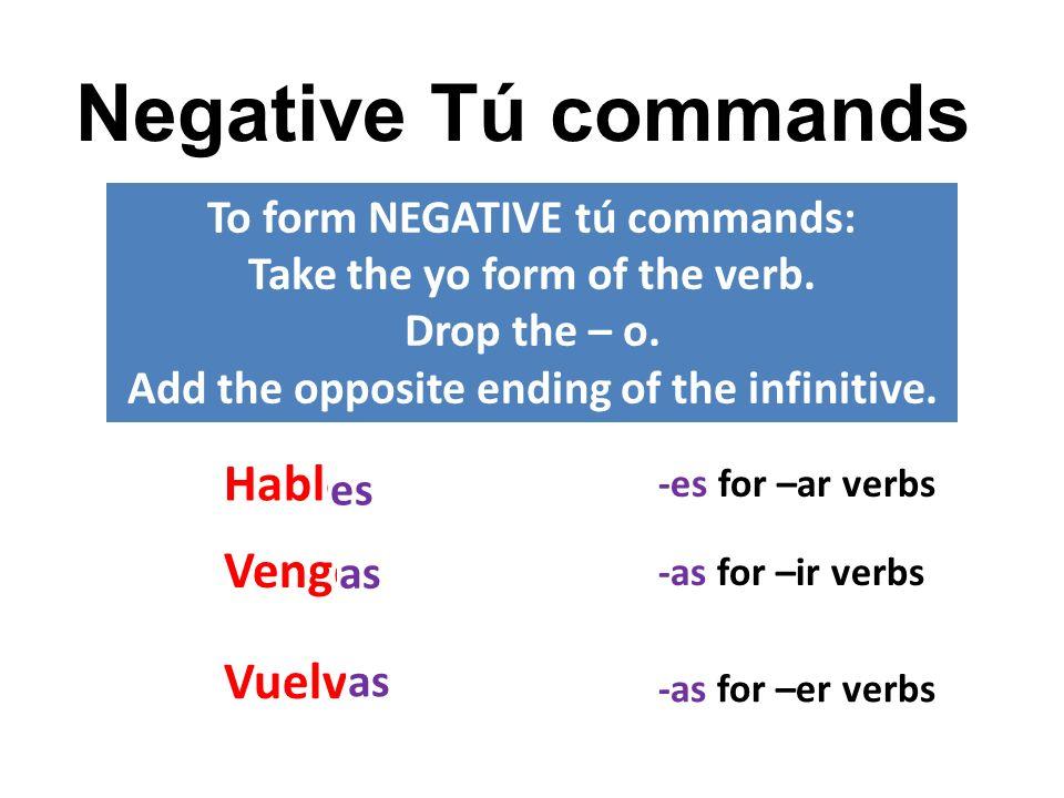 Negative Tú commands Hablo Vengo Vuelvo To form NEGATIVE tú commands: