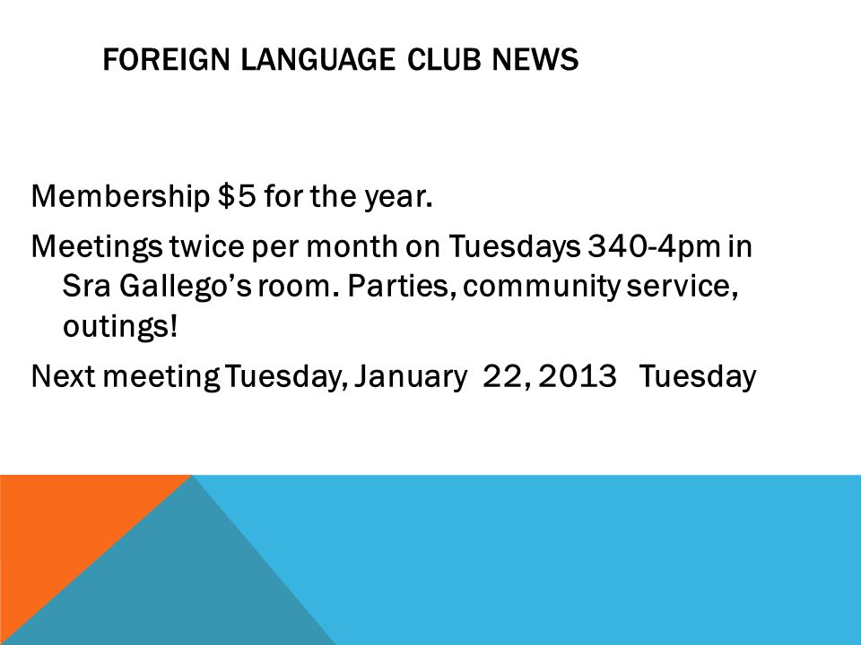 Foreign Language Club NEWS