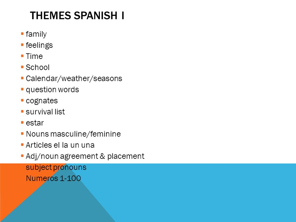 Themes Spanish I family feelings Time School Calendar/weather/seasons