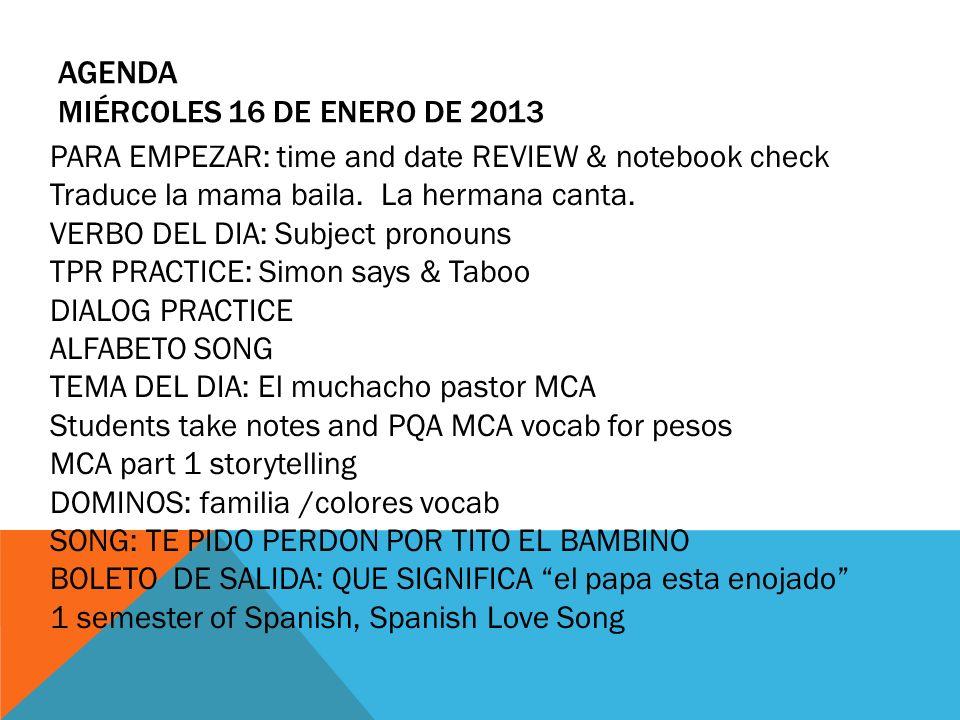 Agenda miércoles 16 de enero de 2013