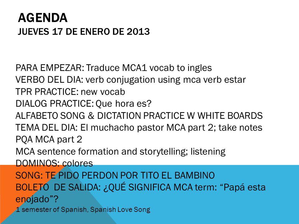 Agenda jueves 17 de enero de 2013