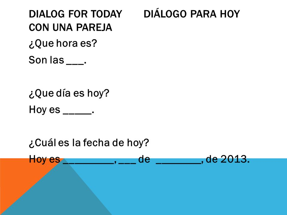 Dialog for today DiÁlogo para hoy con una pareja