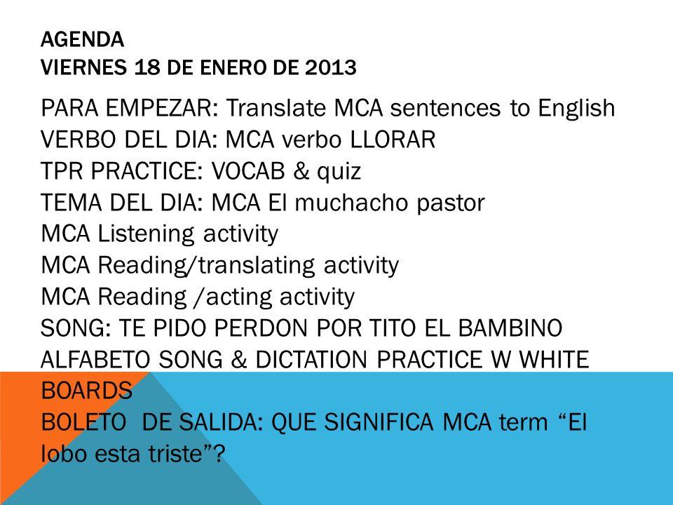Agenda viernes 18 de enero de 2013