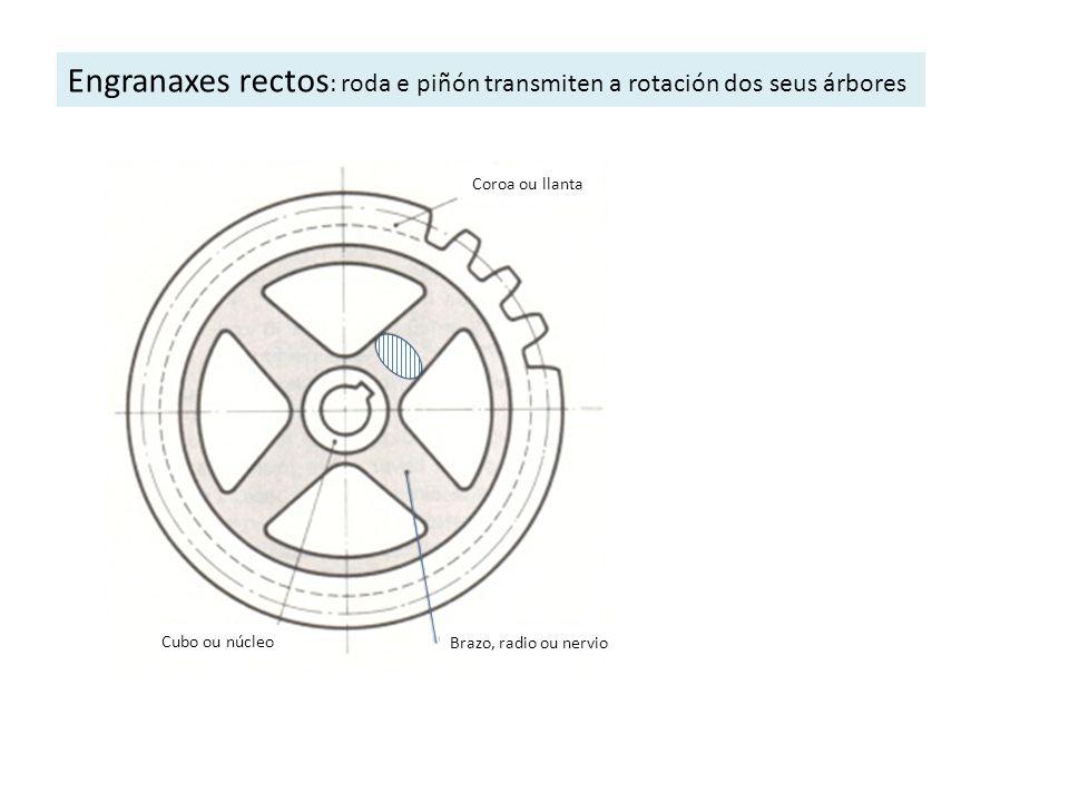 Engranaxes rectos: roda e piñón transmiten a rotación dos seus árbores