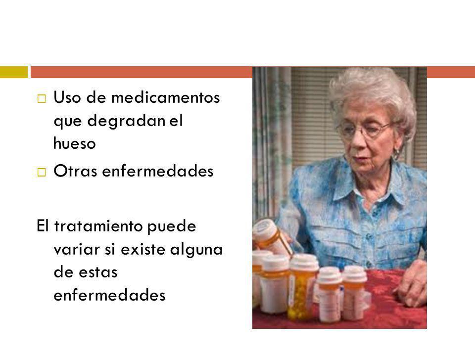Uso de medicamentos que degradan el hueso