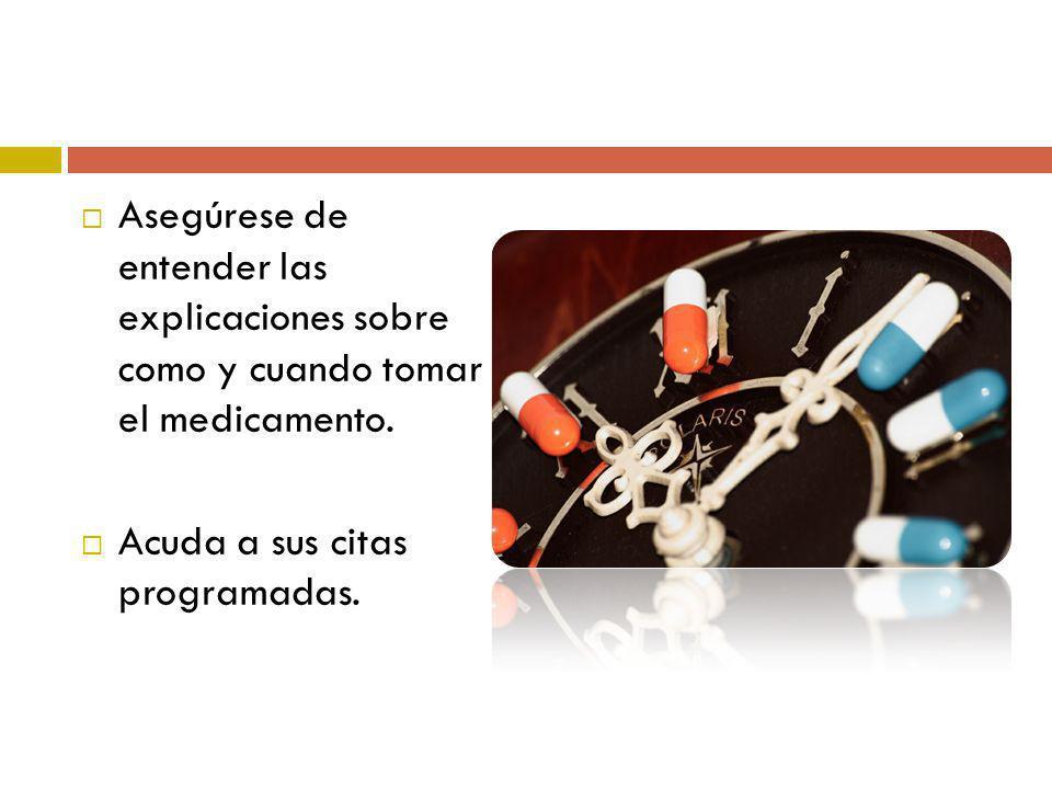 Asegúrese de entender las explicaciones sobre como y cuando tomar el medicamento.