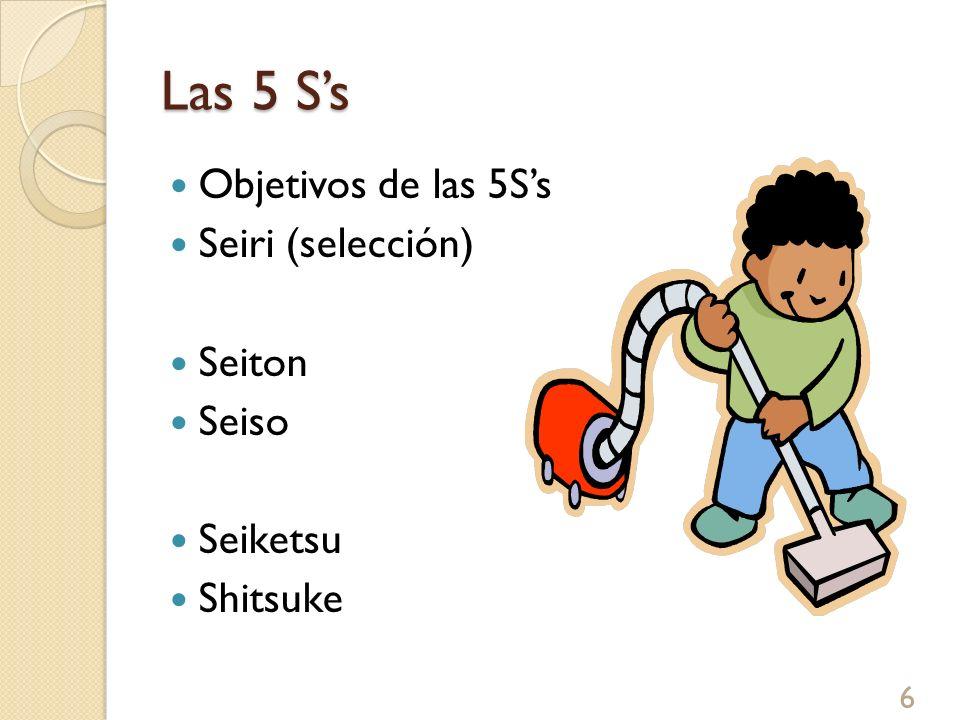 Las 5 S's Objetivos de las 5S's Seiri (selección) Seiton Seiso