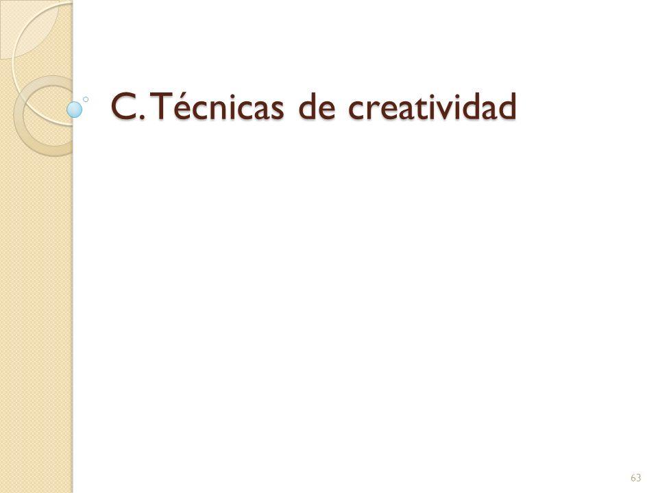 C. Técnicas de creatividad