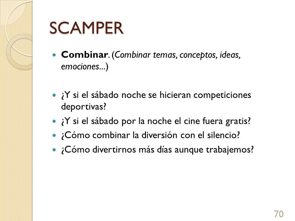 SCAMPER Combinar. (Combinar temas, conceptos, ideas, emociones...)