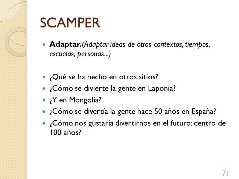 SCAMPER Adaptar.(Adaptar ideas de otros contextos, tiempos, escuelas, personas...) ¿Qué se ha hecho en otros sitios