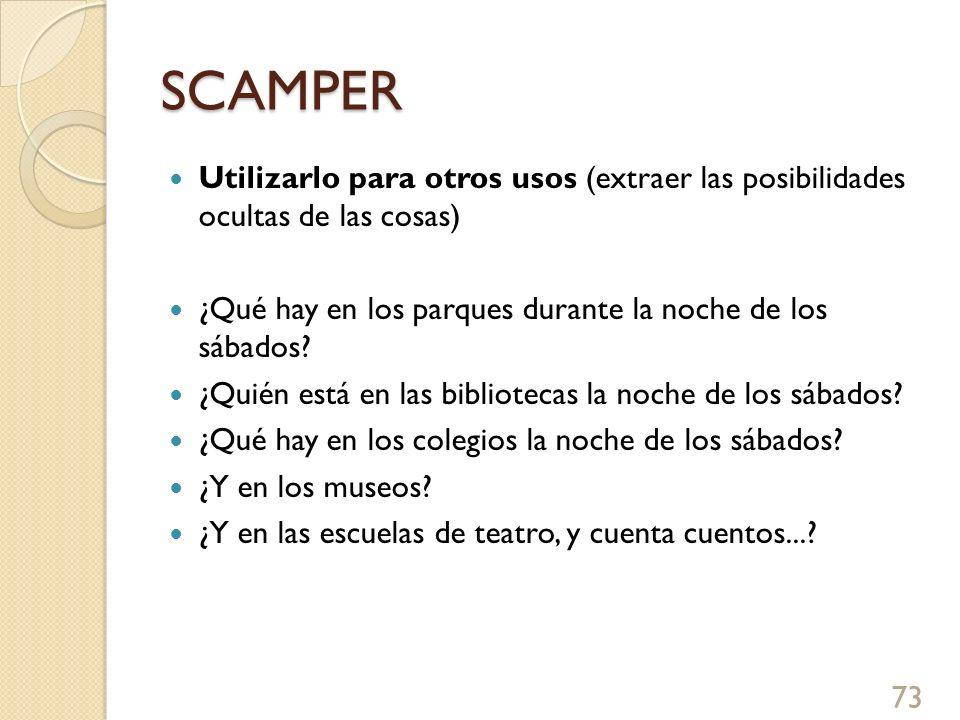SCAMPER Utilizarlo para otros usos (extraer las posibilidades ocultas de las cosas) ¿Qué hay en los parques durante la noche de los sábados