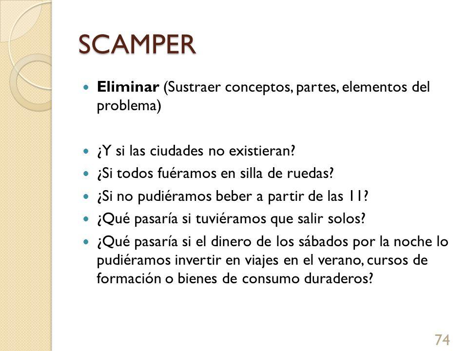 SCAMPER Eliminar (Sustraer conceptos, partes, elementos del problema)