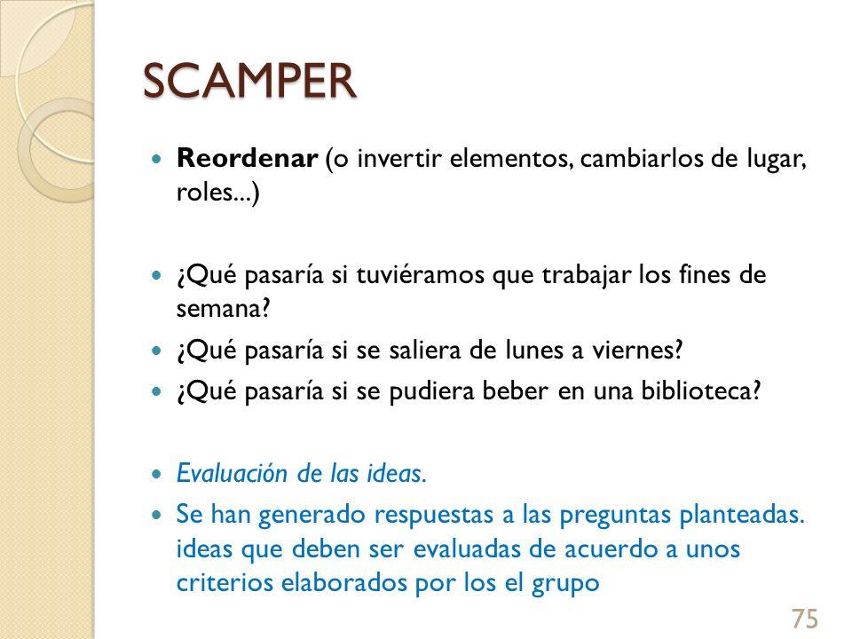 SCAMPER Reordenar (o invertir elementos, cambiarlos de lugar, roles...) ¿Qué pasaría si tuviéramos que trabajar los fines de semana