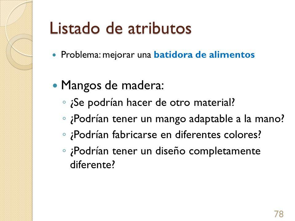 Listado de atributos Mangos de madera: