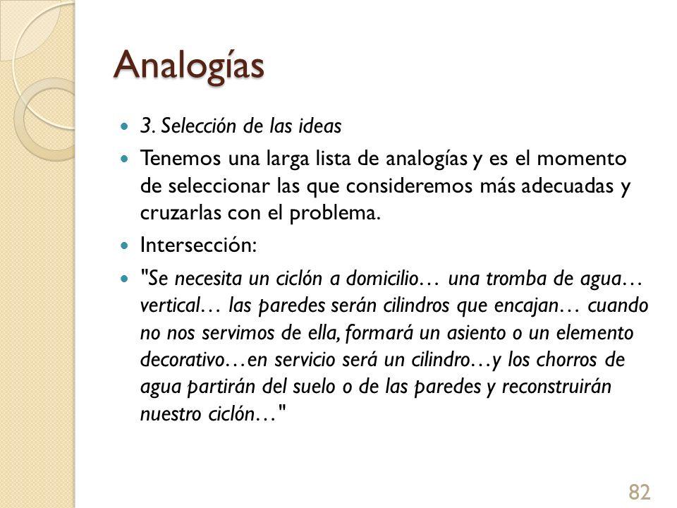 Analogías 3. Selección de las ideas