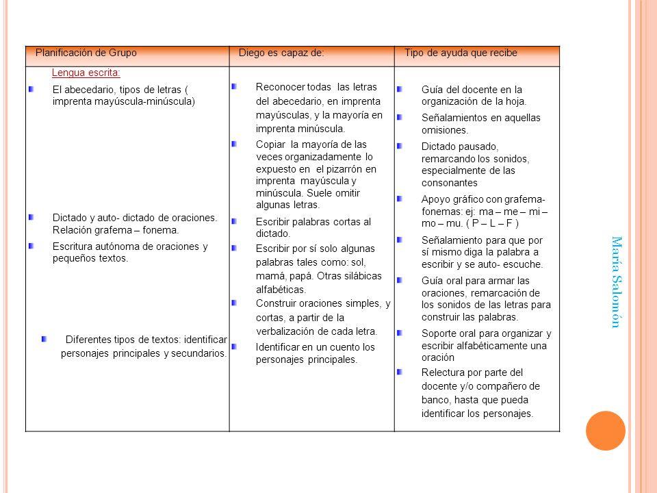 María Salomón Planificación de Grupo Diego es capaz de: